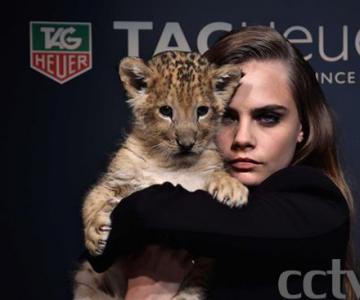 国际超模卡拉代言瑞士制表先锋泰格豪雅 与小狮子同拍